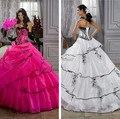O envio gratuito de alta qualidade chic apliques rosa quente vestidos quinceanera 2016 bola vestidos quinceaneras vestidos debutante vestido pará