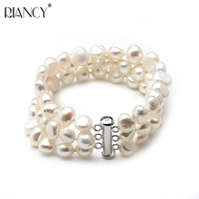 925 Sterling silver 7-8mm black baroque 3 rows natural freshwater pearl bracelets jewelry bangle for women