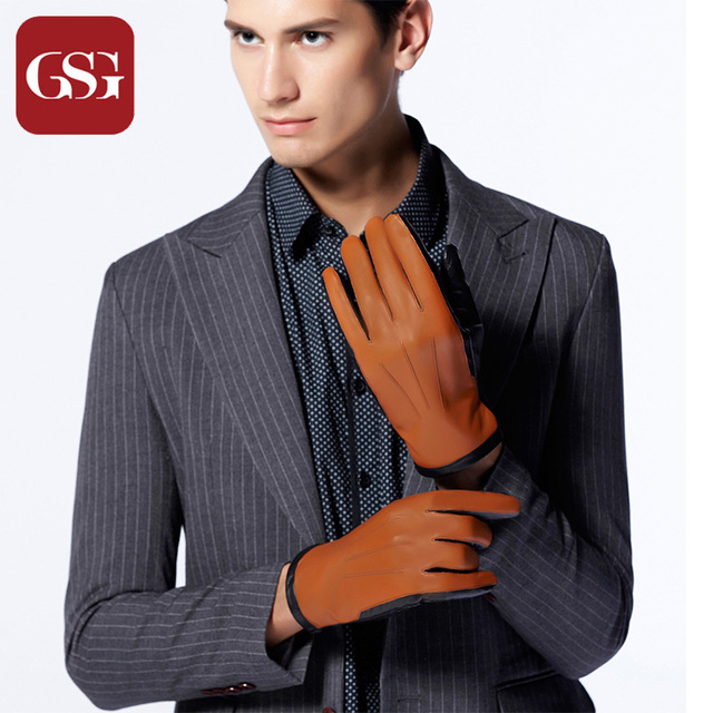 eb18da2031ce0 GSG Brand Men s Sheepskin Leather Gloves Touchscreen Warm Winter Thermal  Fleece Lined Gloves Two Tone Black Brown Mittens Male