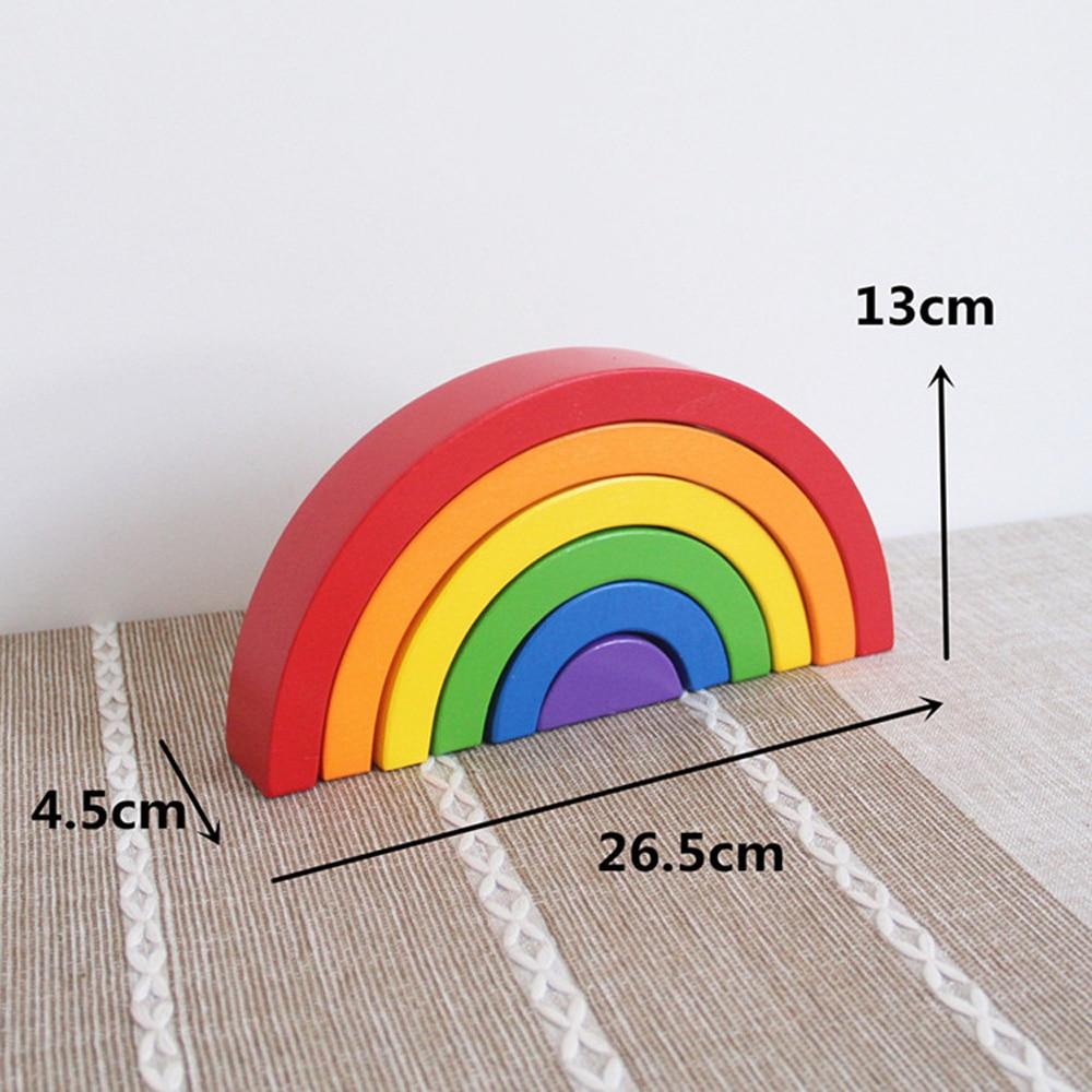 DROPSHIPPIN 6Pcs wooden rainbow blocks wooden building blocks For Kid Rainbow Building Blocks Montessori educational wooden toy