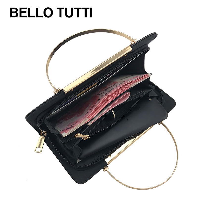 BELLO TUTTI Fashion Women Wallets Lady Long Purse Money Bag Zipper Coin Purse Cards ID Holder Embroidery FlowerClutch Wallet New