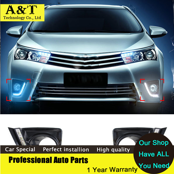 car styling LED Daytime Running Light for for Toyota Corolla 2014 2015 12v DRL With Turn Signal Modify Fog Lamp Car Styling new halogen fog light lamp with wires and button for toyota corolla 2014 altis