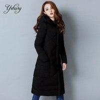 Yehury 2017 새로운 도착 슬림 긴 겨울 재킷 패딩 파카 후드 Thicke 따뜻한 눈 패션 여성 코트