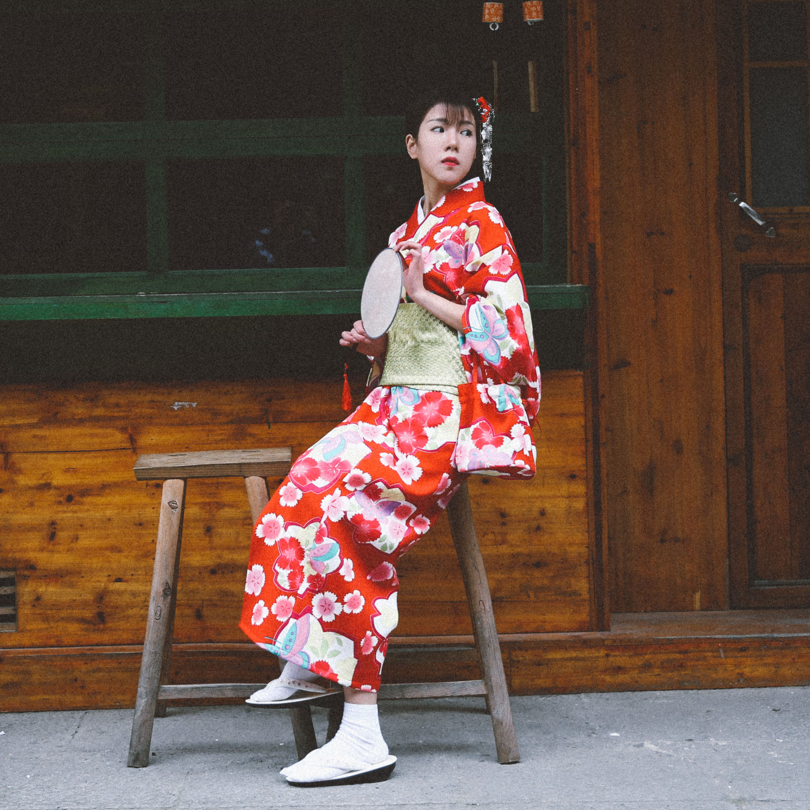 Red Printed Japanese Female Kimono Lounge Yukata Vintage Girl Dress Gown Elegant Dance Performance Clothes Cosplay Costume