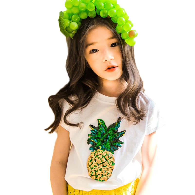 baby girls tshirts summer sequined pineapple girls t shirt 2018 cotton short sleeve girl top tees casual children clothing 4-15T mens casual 3d personality skull printing short sleeve t shirt cotton sport black tees