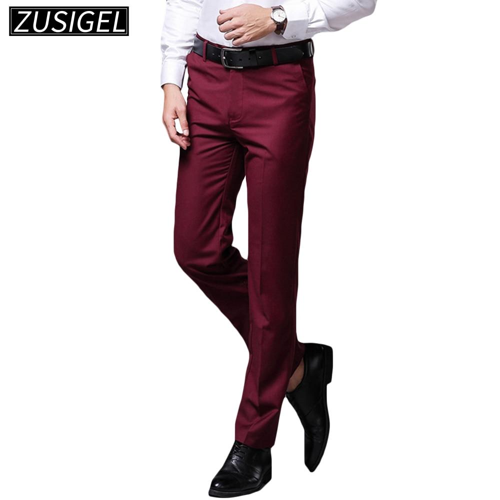 ZUSIGEL Men's Classic Office Slim Fit Suit Pants Formal Business Pants For Men Straight Solid Long Trousers Dress Pants Men
