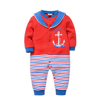 Unisex Newborn Baby Sailor Clothes White Anchor Toddler Girls Coveralls Red Stripes Infant Boys Overalls Long