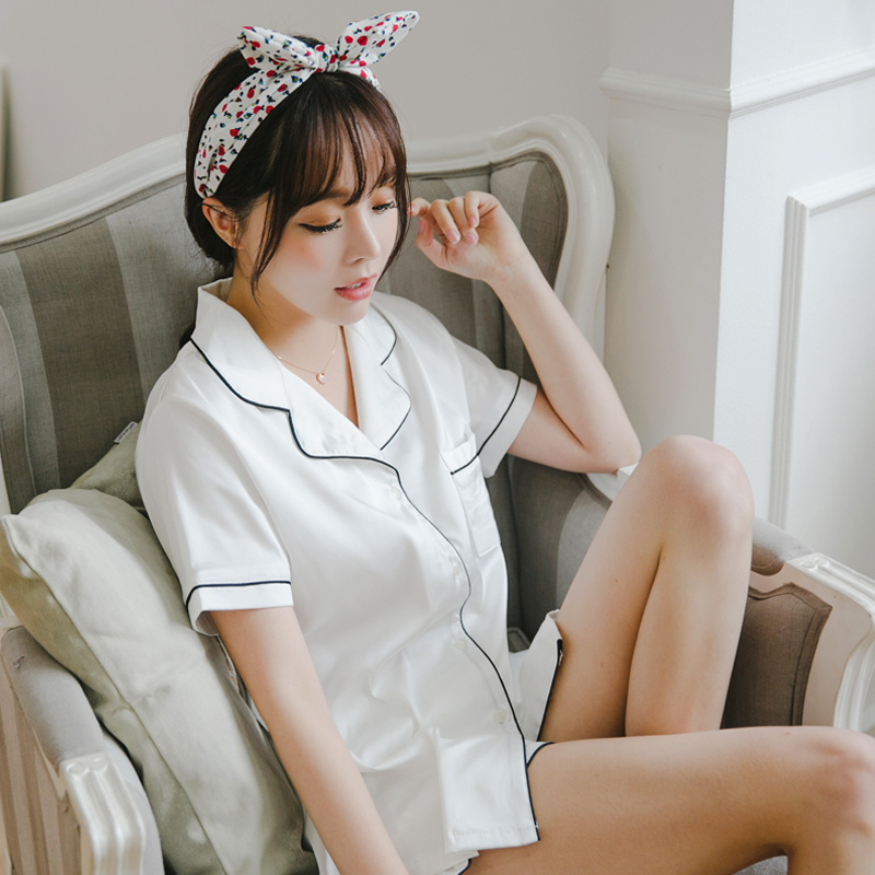 Silk   Pajama     Sets   Women Plus Size Summer 2019 Fashion Women   Pajamas   Turn-down Collar Sleepwear 2 Two Piece   Set   Shirt+Shorts White