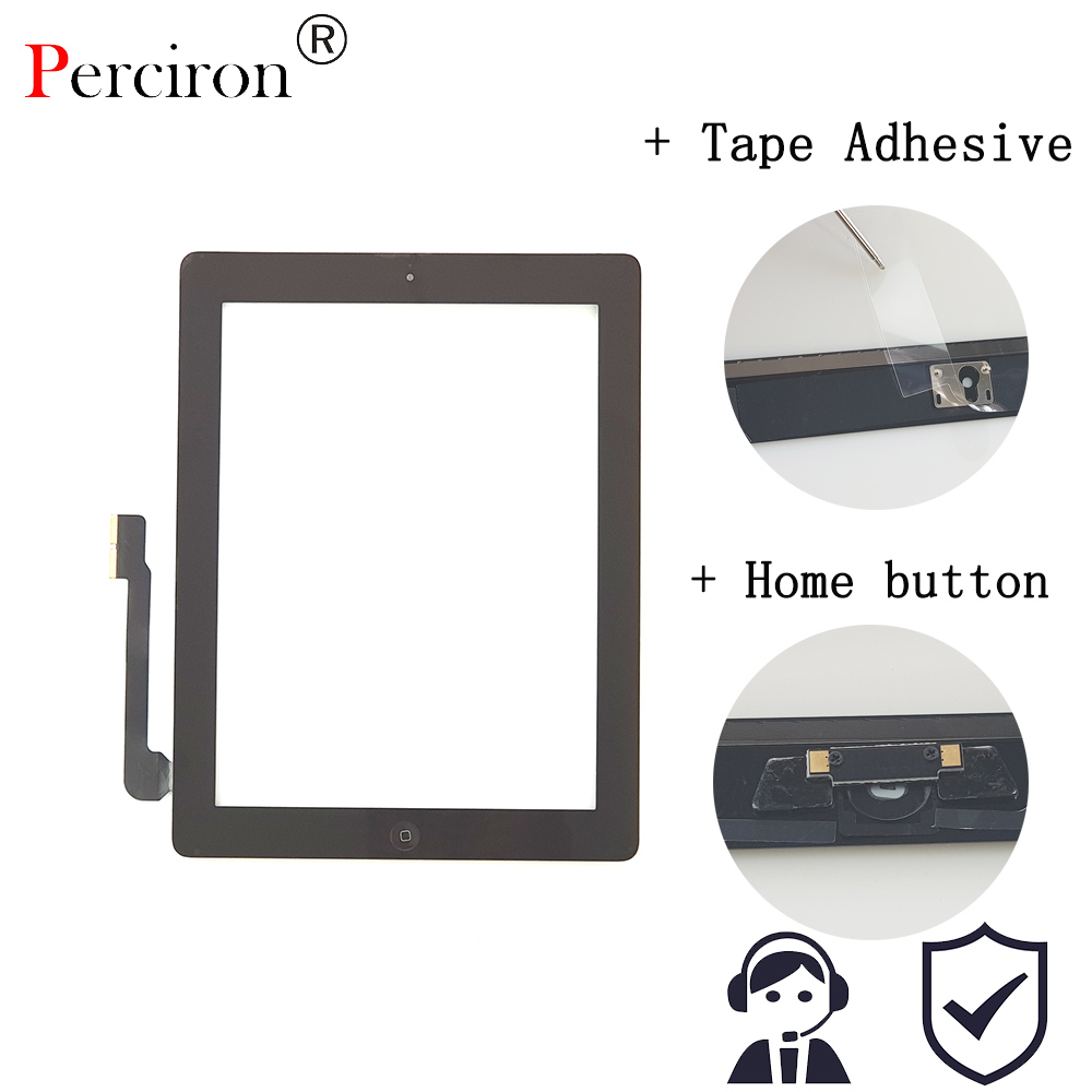New For IPAD 3 Black White Digitizer Touch Screen Front Display Glass Assembly - Includes Home Button And Flex + Camera Holder