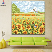 DIY colorings pictures by numbers with colors White cloud sunflower picture drawing painting by numbers framed Home(China)