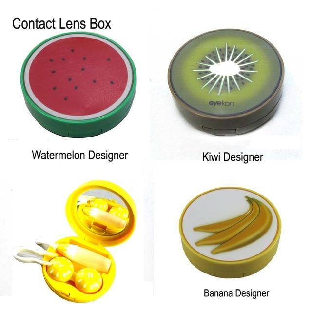 Унисекс контактные линзы Оптические стёкла коробка очки коробка Средства ухода для век случае Тематические товары про рептилий и земноводных Чехол держатель Контейнер клубника арбуз киви банан