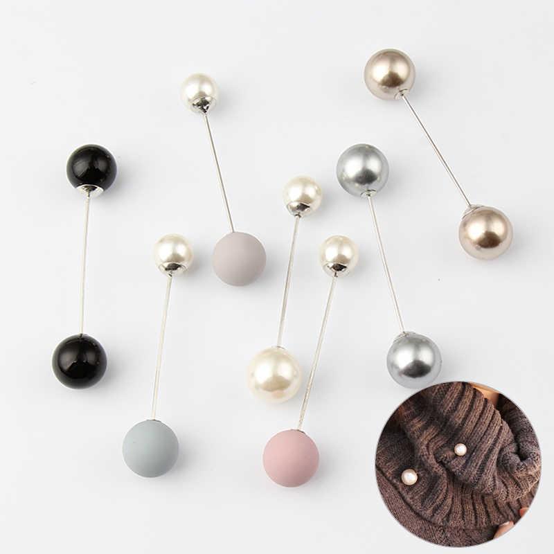 Di modo 1Pc Donna/Ragazza Imitazione Della Perla Spilla Classico Accessori di Fascino di Alta Qualità Semplice Doppio Perle Spille Del Tutto-Fiammifero