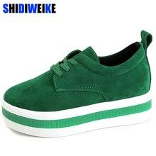 Mulher nova primavera verão sapatos de camurça do falso sapatos casuais rendas up tênis plataforma feminina senhoras apartamentos tamanho 35 40 n969