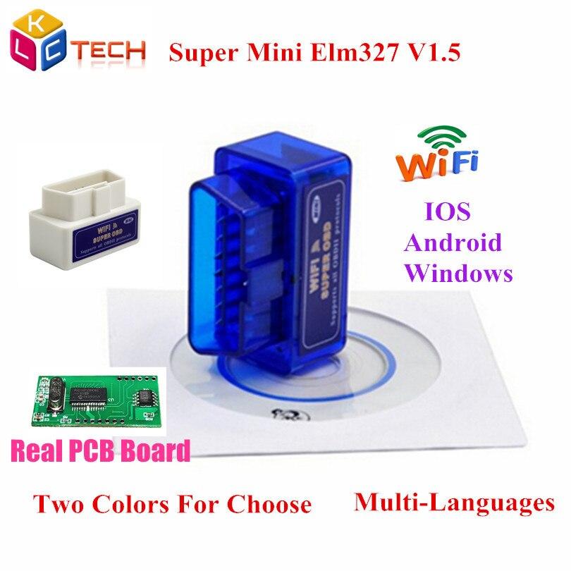 Цена за 10 шт./лот Супер Мини ELM327 WIFI ELM 327 V1.5 OBD2 Диагностический инструмент Wifi ELM 327 1.5 Для IOS Android Windows Бесплатно доставка