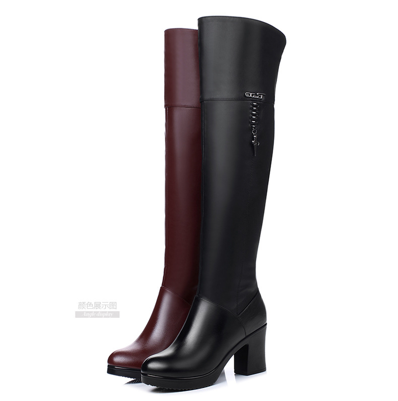 New Autumn/winter  Leather Over-the-knee Boots with High-heeled Chunky and Waterproof Platform Martin Boots Are Bigger In Size