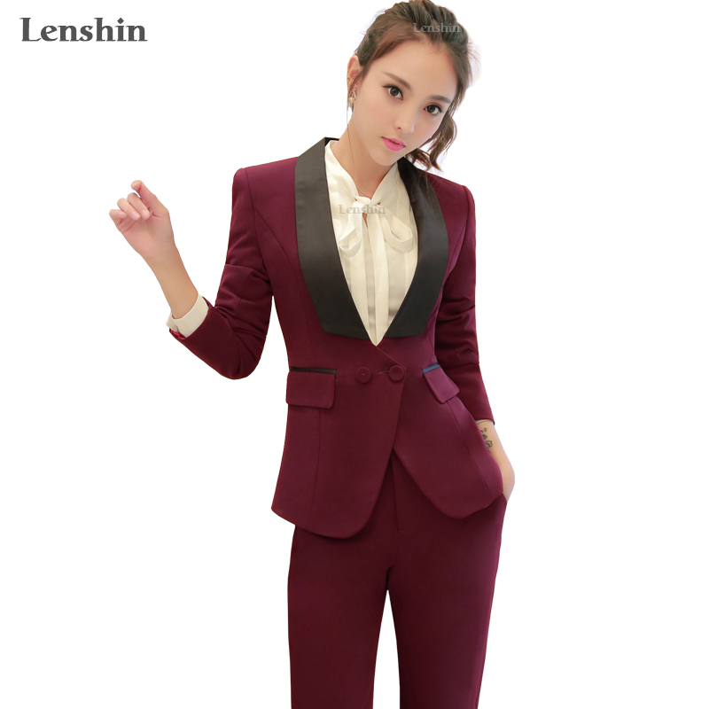 Lenshin Shawl Collar 2 Piece Formal Pant Suit For Wedding Office Uniform Designs Ladies Women Business Suits Red Blazer For work formal wear