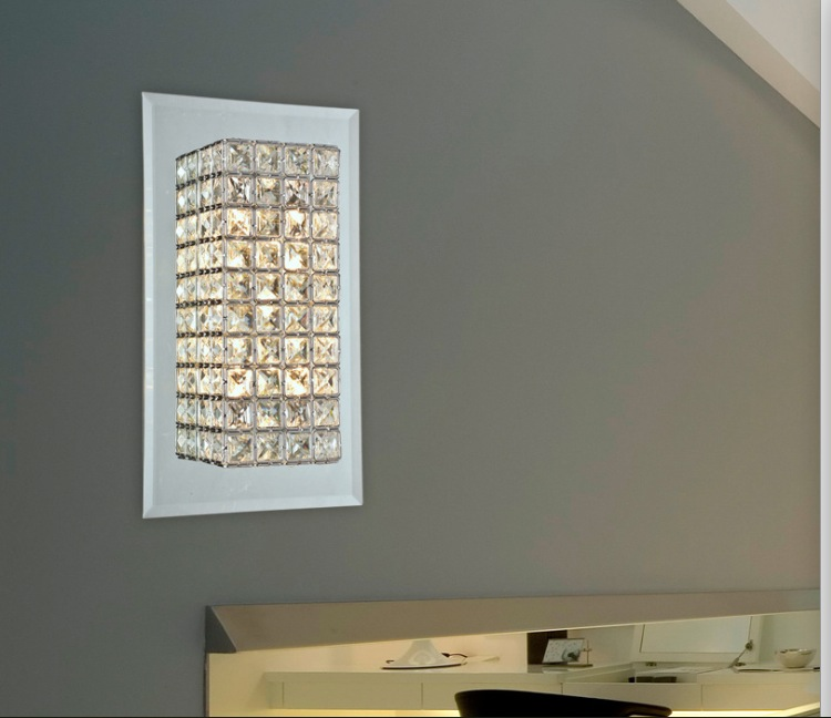 Free Shipping Modern Wall Lamp K9 Crystal Sconce G9 Hotel Bedroom Stairs Home Indoor Decoration Fixtures free shipping chrome finish modern wall lamp bedroom sconce with cylinder crystal lamp shade