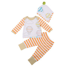 Autumn Newest Newborn Baby Boys Infant Girl Clothes Top Long Sleeve Graffiti T-Shirts Striped Pants Hat Outfits 3pcs Cute Set