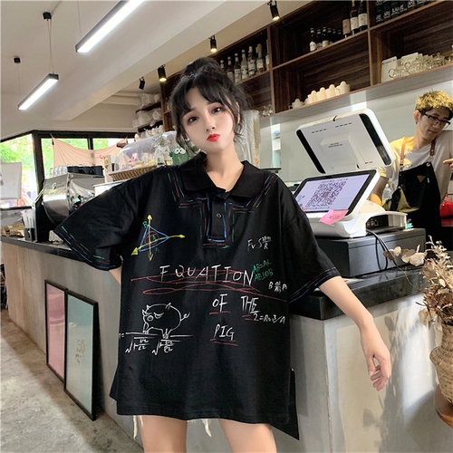 Letter Printed Casual Loose Basic Black Loose Oversize Turn Down Collar Female Women Short Sleeve Long Design Polo Shirts