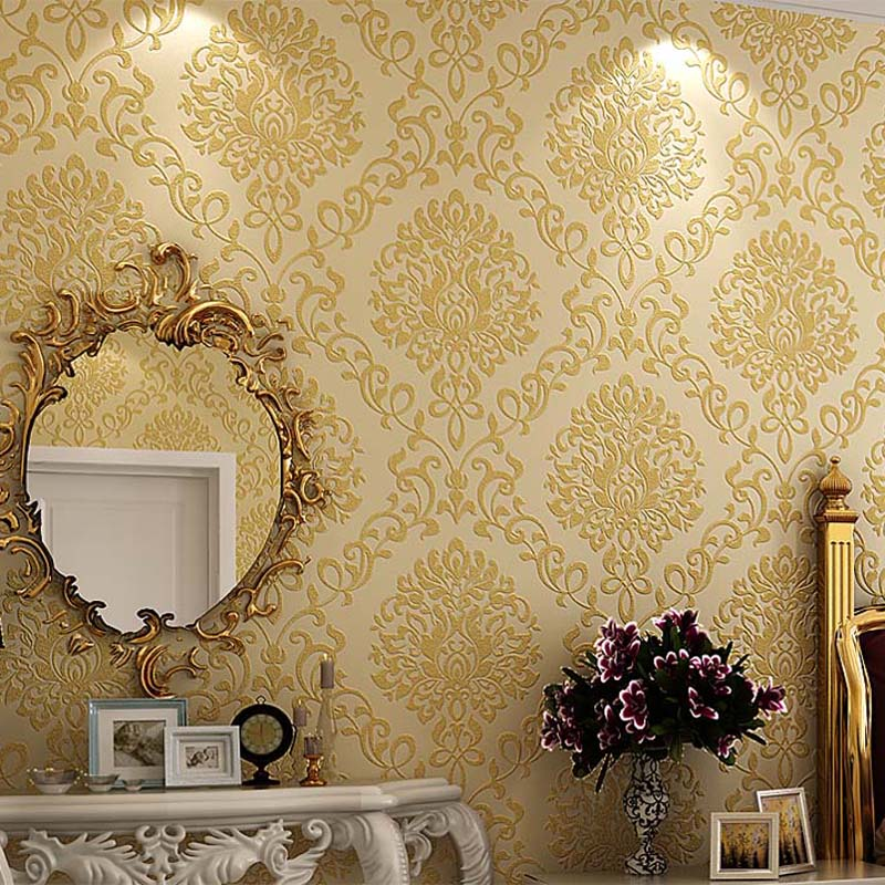Compare prices on gold texture online shopping buy low for Damask wallpaper living room ideas