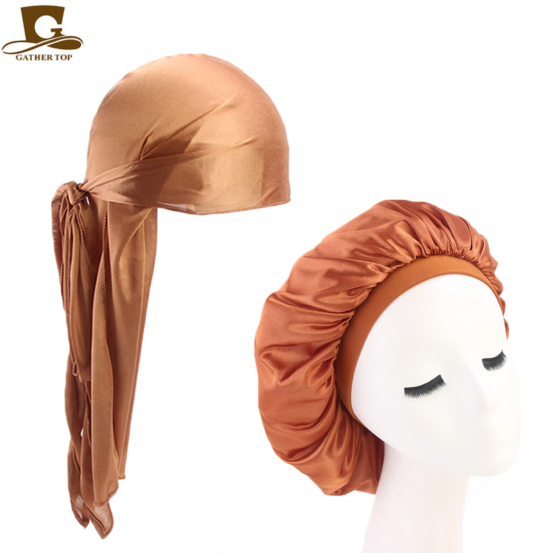 GATHERTOP Unisex Silky Durag Long Tail Straps Waves For Men Solid Wide Doo Rag Bonnet