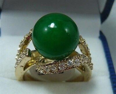 Free Shipping A Pretty 18KGP 12MM Green stone Women' s Ring size 6-10