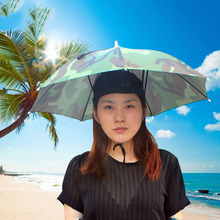 Portable Outdoor Sports 69cm Umbrella Hat Cap Folding Women