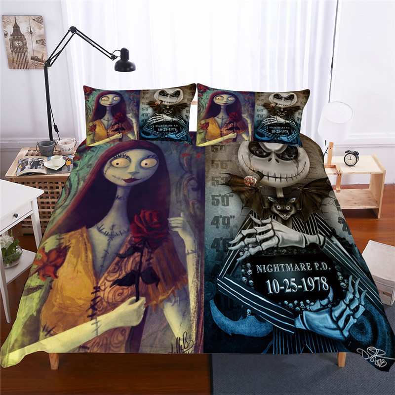 3D Queen Size Bedding Set King Size Nightmare Before Christmas Bedding Double Bedspread Duvet Cover Sets