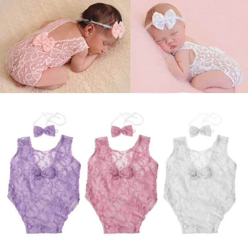 Beautiful Baby Photography Props Backless Hollow Bowknot Lace Romper Newborn Girls Outfit MAY21-A