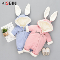 KISBINI 3M 12M Winter Baby Girl Rompers Cute Bunny Fleece Velvet Infant Clothing Warm New Born Boy newborn Clothes Snow Jumpsuit