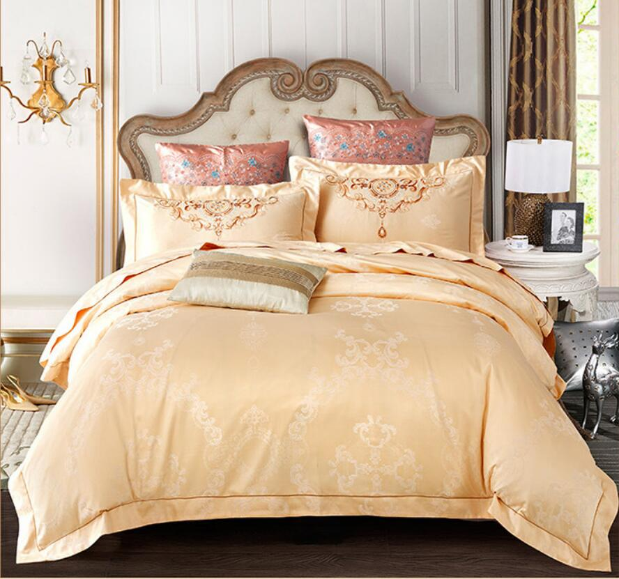 Embroidered bedding set queen king size Jacquard Silk bedclothes bed sets Satin quilt/duvet cover bed sheets pillowcases cotton Embroidered bedding set queen king size Jacquard Silk bedclothes bed sets Satin quilt/duvet cover bed sheets pillowcases cotton