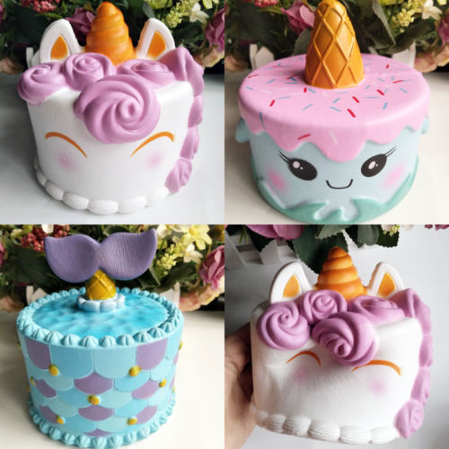 Hot Sell Unicorn Mermaid Cake Slow Rising Scented Squishy Squeeze Charms Toys Collections
