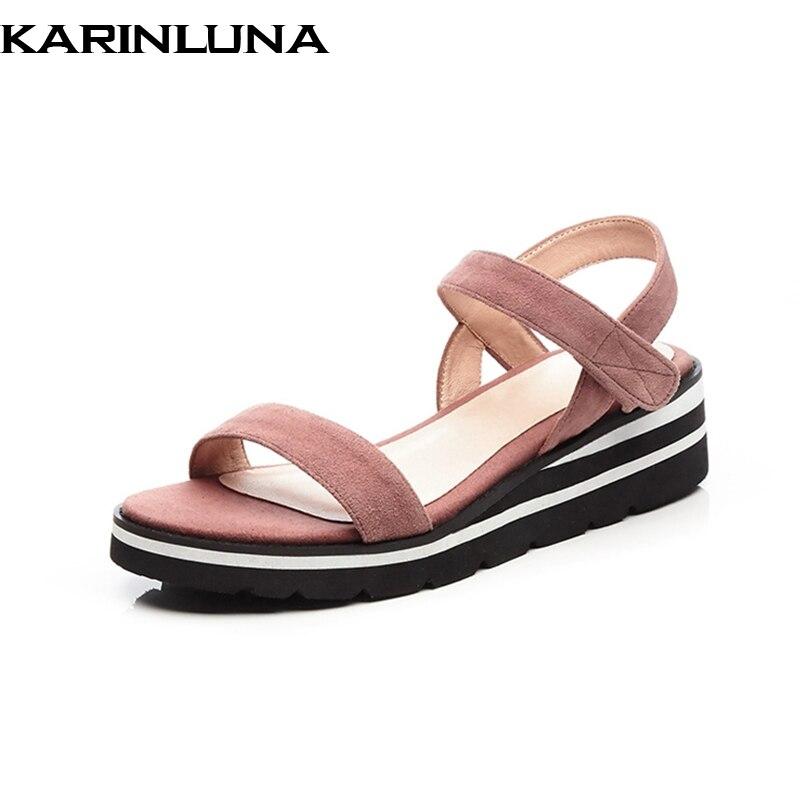 KarinLuna Kid Suede Genuine Leather Hook Loop High Heels Summer Ladies Shoes Sandals Fashion Daily Women Shoes