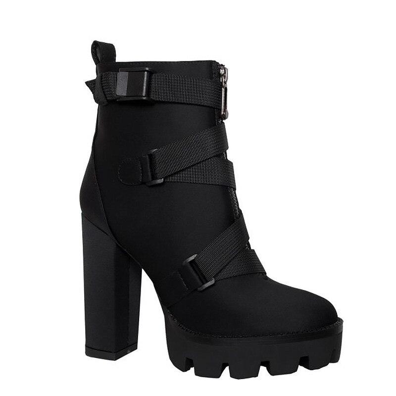 ASUMER 2019 nowy botki dla kobiet okrągłe toe zup kwadratowe wysokie obcasy buty platformy grube obcasy jesień buty damskie zimowe w Buty do kostki od Buty na  Grupa 3