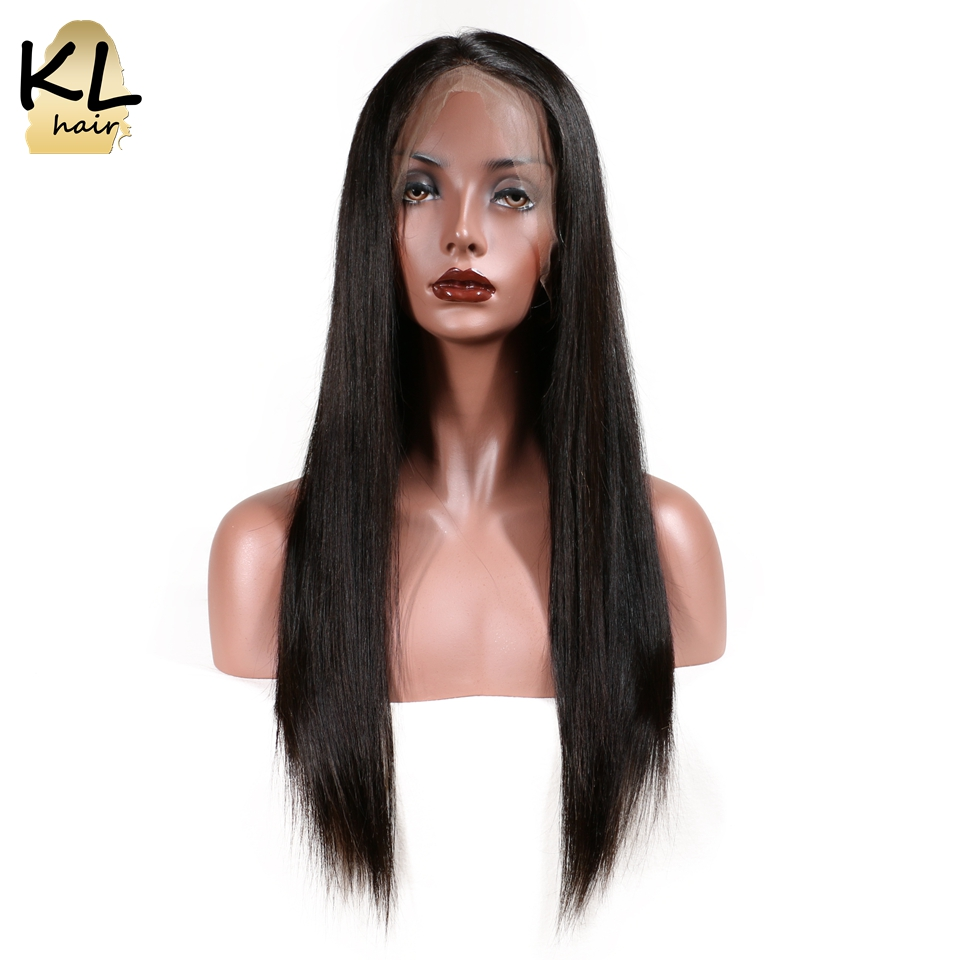 KL Hair Straight 360 Lace Frontal Wigs 150% Density Human Hair Natural Color Brazilian Remy Hair For Black Women With Baby Hair