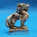 Китайская старая тибетская Серебряная бронзовая старая тонкая редкий Тибетский серебристый Dragon статуя металлические украшения ручной раб...