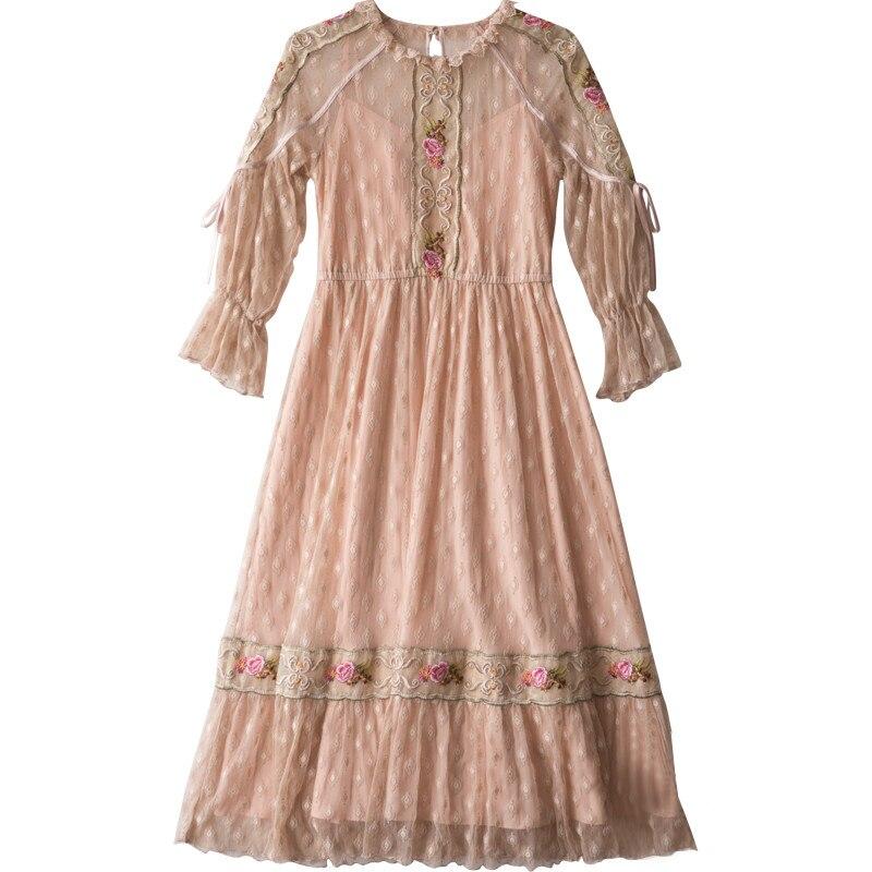 YOSIMI 2019 été dentelle longue robe femmes Floral broderie Maxi Preppy Style pleine manches o-cou douce fille mi-mollet robe printemps