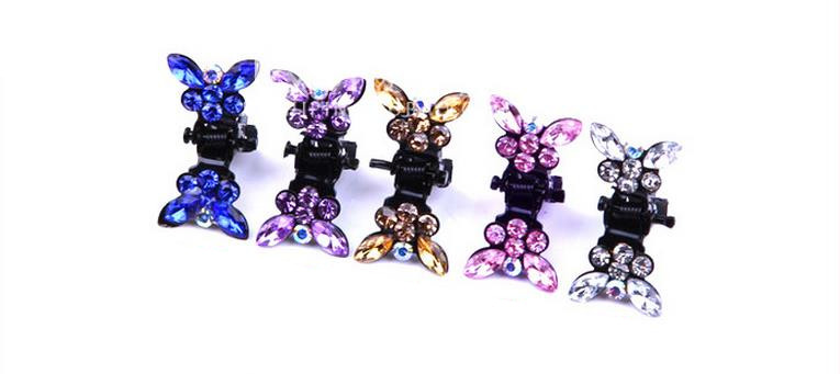 10pcs New Butterfly rhinestone mini crab claw clip Bows Hair Clip Bows Baby Girls Bobby Pin Children plum blossom HairPin 1 set new girls colorful carton hair clips small crabs hair claw clips mini hairpin kids hair ornaments claw clip