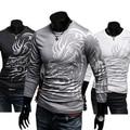 Hot Men's Stylish Cotton Blend  Crew Neck Tops Dragon Totem Tattoo Printed Long Sleeve T-shirt Autumn 6R8S 7FME