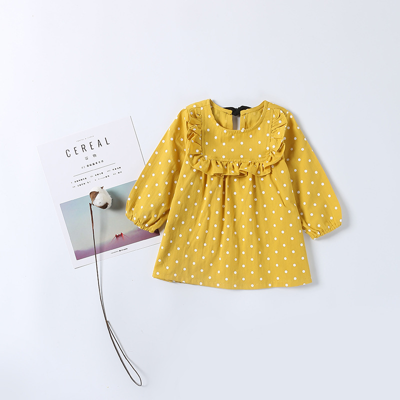 Fashion Children Princess Girl Dot Pattern Print Yellow Dress Full Sleeve with Sashes Bow Cute Baby Girls Dress with Ruffles