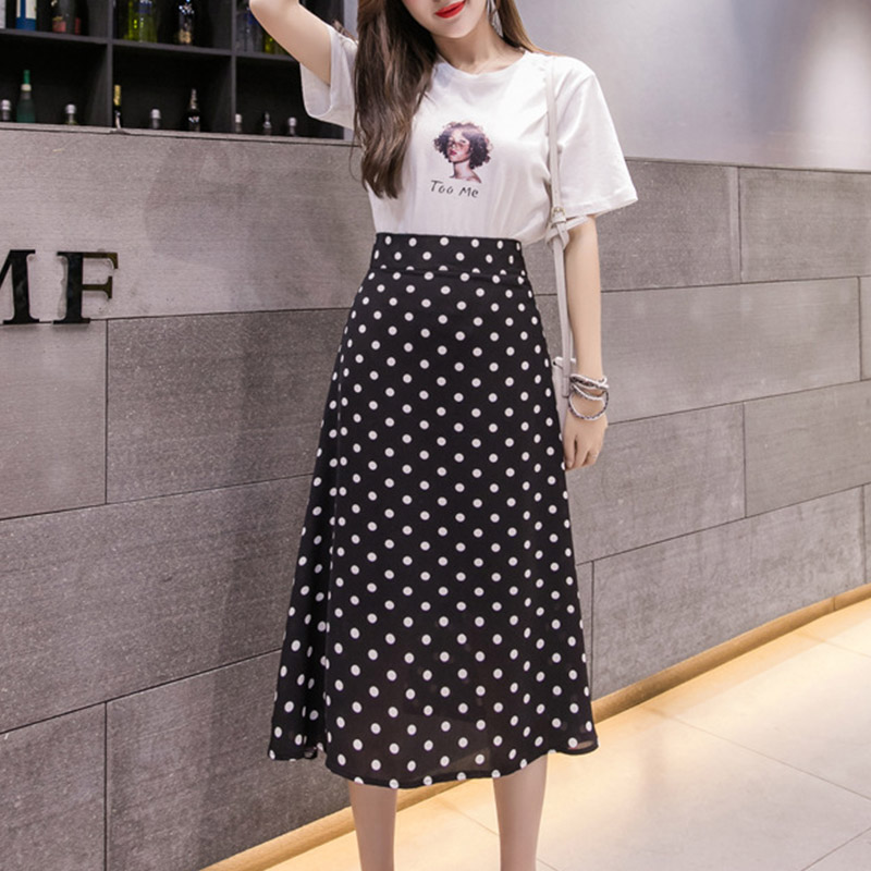Sweet Casual Dot Print All-Match  High Waist Midi Skirt For Women  Skirt 2019 Summer Office Hot Sale Skirt