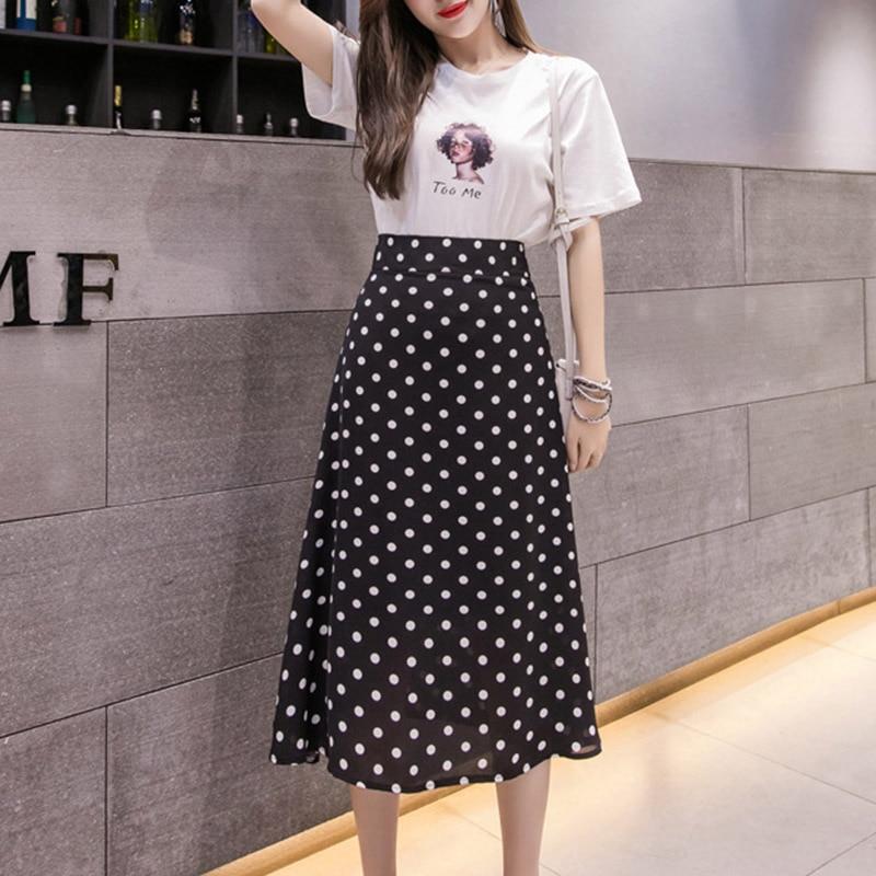 Sweet Casual Dot Print All-Match  High Waist Midi Skirt For Women  Skirt 2019 Summer Office Hot Sale Skirt