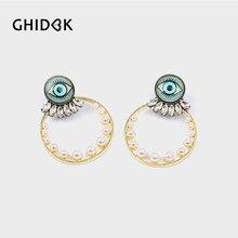 GHIDBK Baroque Crystal Pearls Eye Circle Stud Earrings Minimalist Chandelier  Earrings Studs for Women Vintage Statement Jewelry 9c6392f4d372