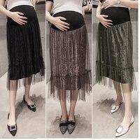 Fashion woman clothes pregnant Skirt Pleated Mesh elegant Pregnant dress Korean velvet Black Autumn Winter Mid Calf Skirts