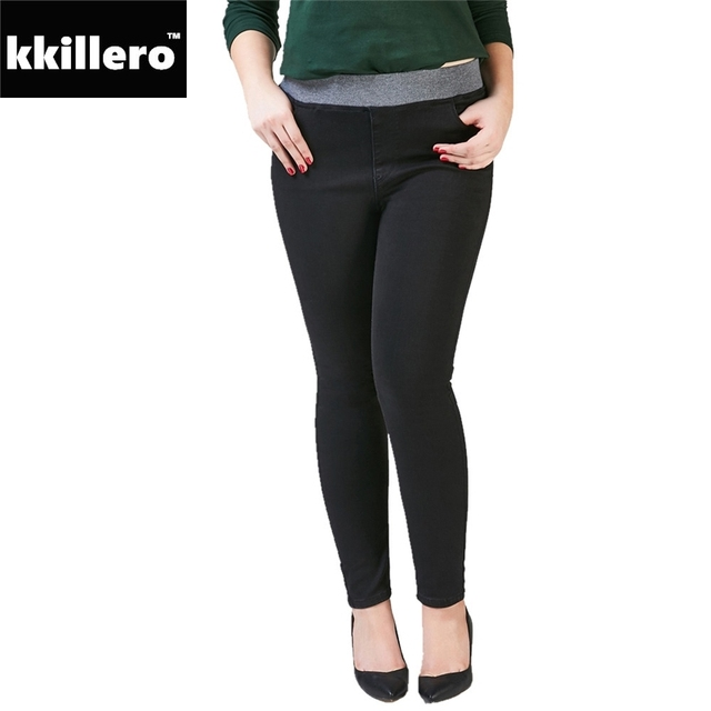 b70fde1cfbf Shaping Skinny Jeggings Elastic Waist Ankle Jeans Women 2018 Slim  Superstrech Treggings Denim Blue Black Pants Woman Plus Size