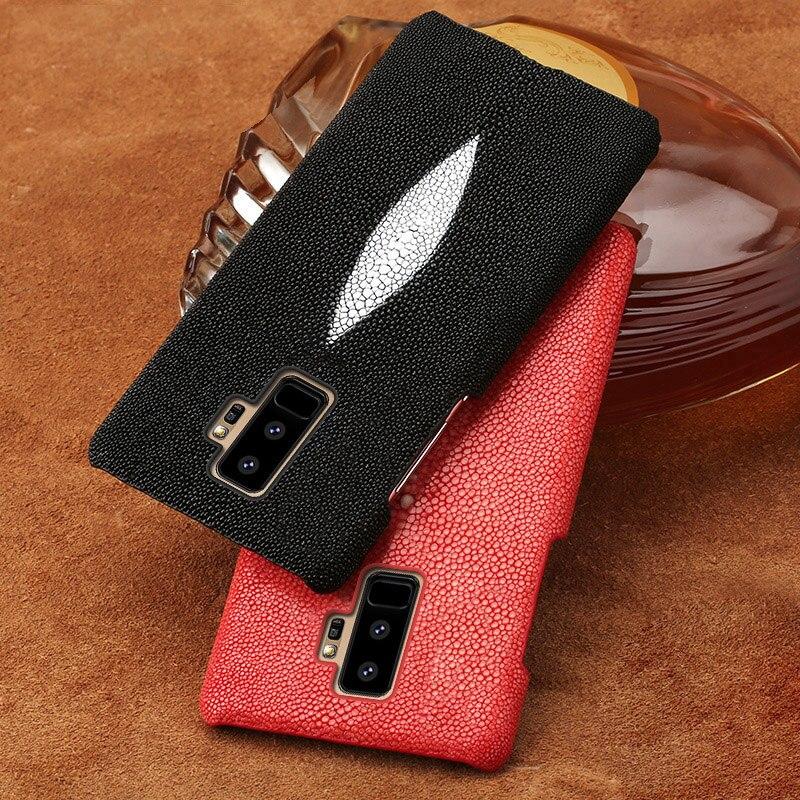 Cas de téléphone Pour Samsung Galaxy S6 S7 bord S8 S9 Plus Naturel Perle poissons peau de couverture Arrière Pour la Note 8 9 A5 A7 A8 J5 J7 2017 Plus