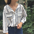 Women Shirts Loose Turn-down Collar Show A Small Bar Afterfore Blouse Shirt Article Grey Vermicelli 562