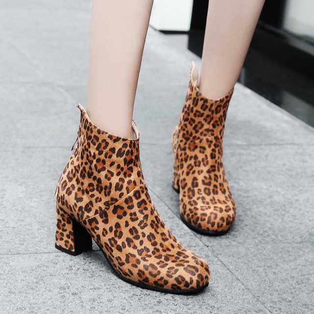 PXELENA 2018 Design Leopard Ankle Boots Women Round Toe Square High Heels  Short Boots Ladies Shoes Party Office Footwear 34-43 1d15f58eb9