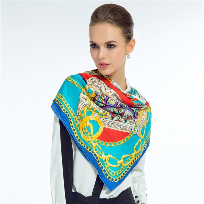 New-Arrival-Summer-Silk-Scarf-Women-Fashion-Wine-Bottle-Metal-Link-Chain-Big-Square-Handkerchief-Classic