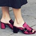 AIWEIYi Сандалии Женщин Летняя Леди Тапочки Обувь Женщины На Высоких Каблуках Сандалии Моды Кисточкой Пряжки Слайды Тапочки Большой Размер 34-43